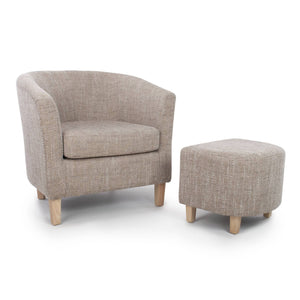 Tub Chair and Stool Set - Tweed Oatmeal