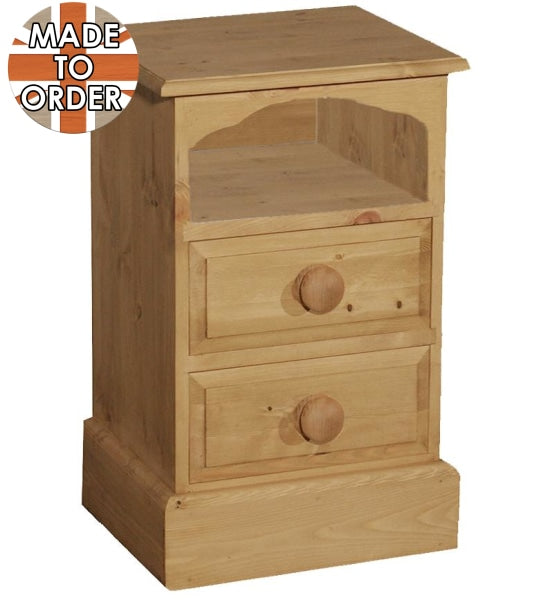 Wiltshire 2 Drawer Open Top Bedside Waxed Furniture