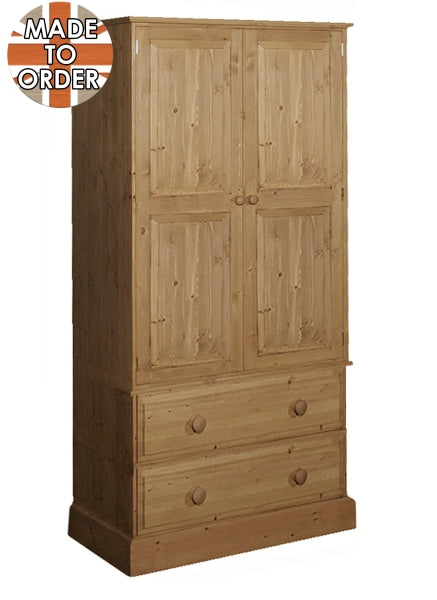Wiltshire 2 Drawer Wardrobe Waxed Furniture