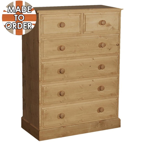 Wiltshire 2 Over 4 Chest Of Drawers Waxed Furniture