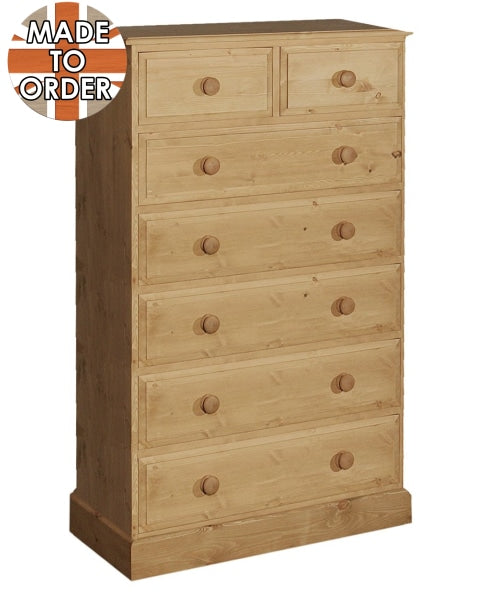 Wiltshire 2 Over 5 Chest Of Drawers Waxed Furniture