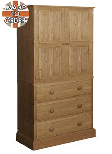 Wiltshire 3 Drawer Wardrobe Waxed Furniture