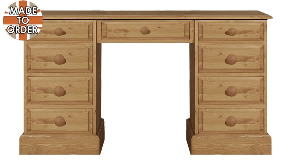 Wiltshire Double Ped 9 Drawer Dressing Table Waxed Furniture