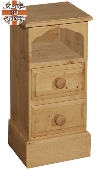Wiltshire Mini 2 Drawer Arched Bedside Waxed Furniture