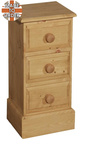 Wiltshire Mini 3 Drawer Bedside Waxed Furniture