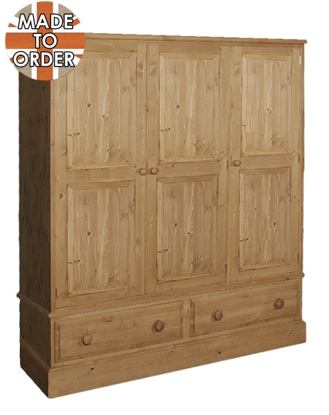 Wiltshire Triple 2 Drawer Wardrobe Waxed Furniture