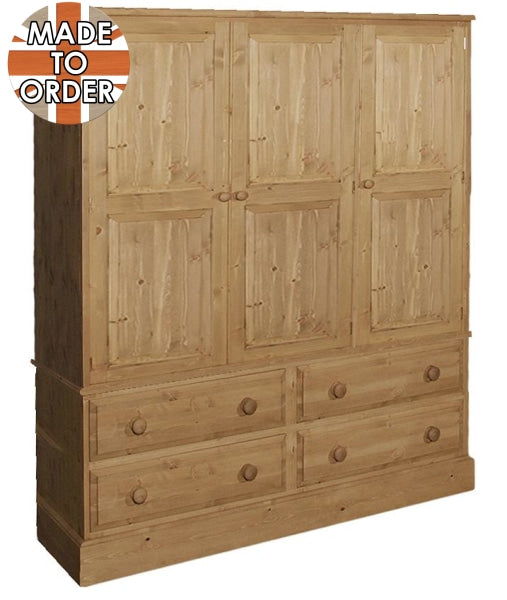 Wiltshire Triple 4 Drawer Wardrobe Waxed Furniture