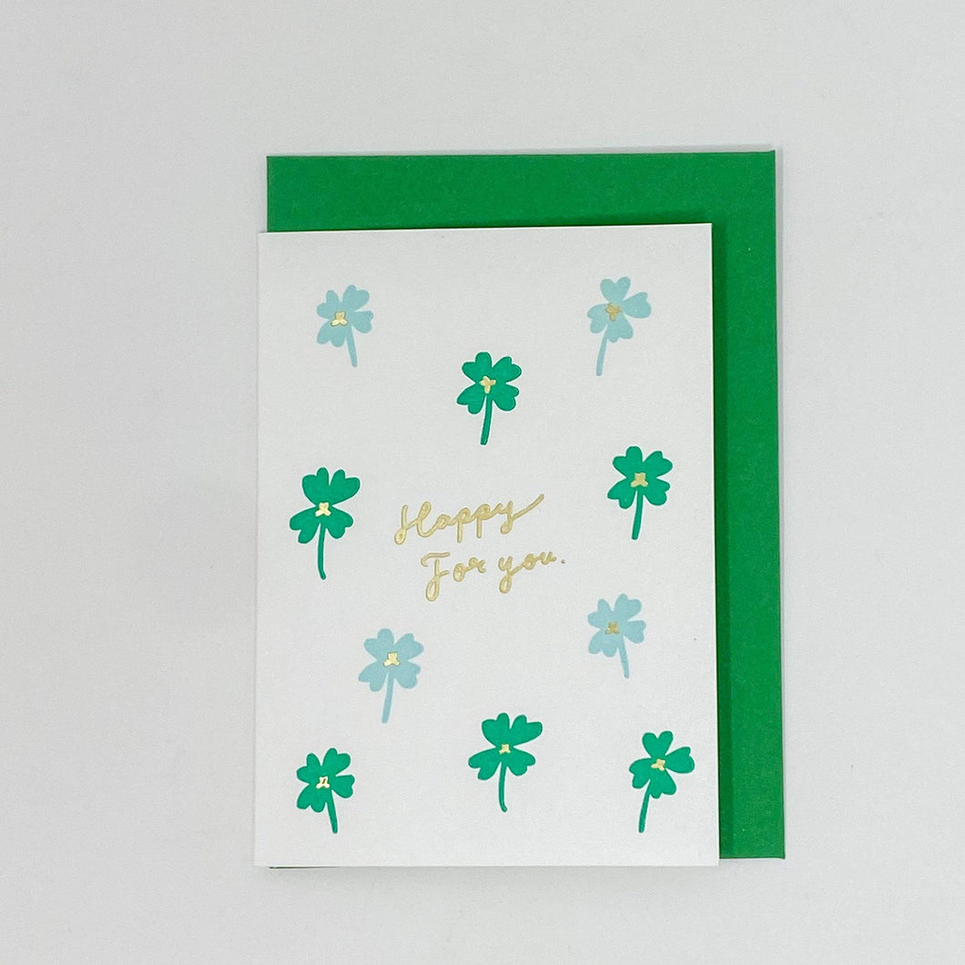 Greeting Life Lucky Letterpress Four Cloves Mini Card - MAIDO! Kairashi Shop