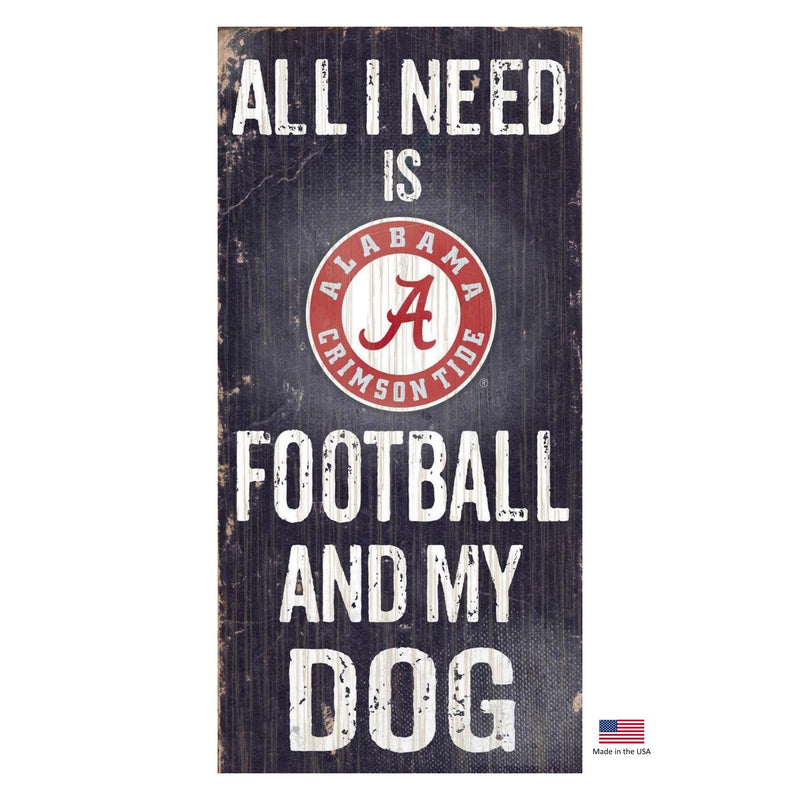Alabama Crimson Tide Distressed Football And My Dog Sign - National Fur League