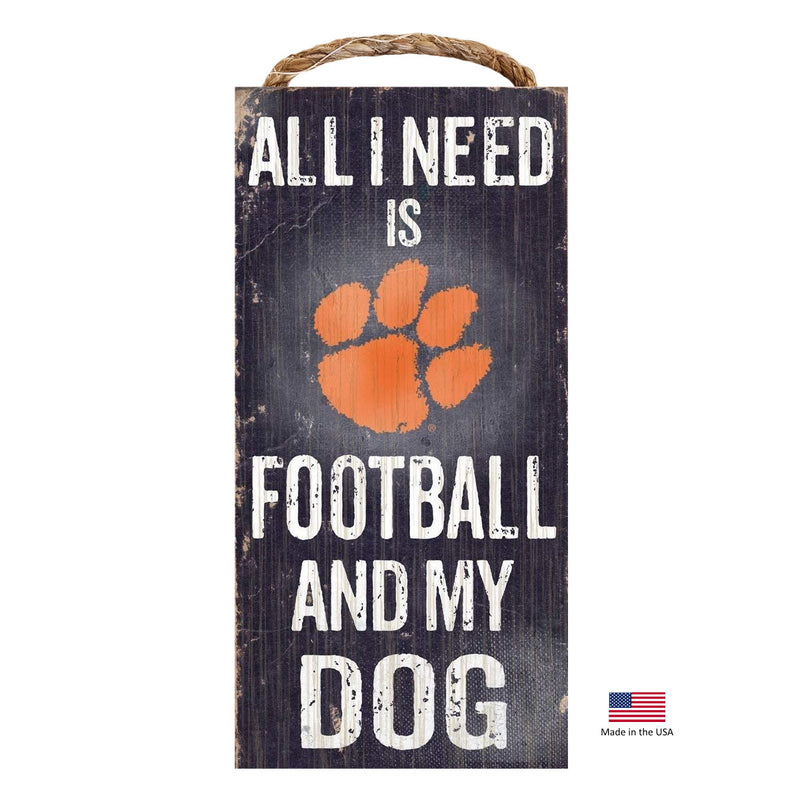 Clemson Tigers Distressed Football And My Dog Sign - National Fur League