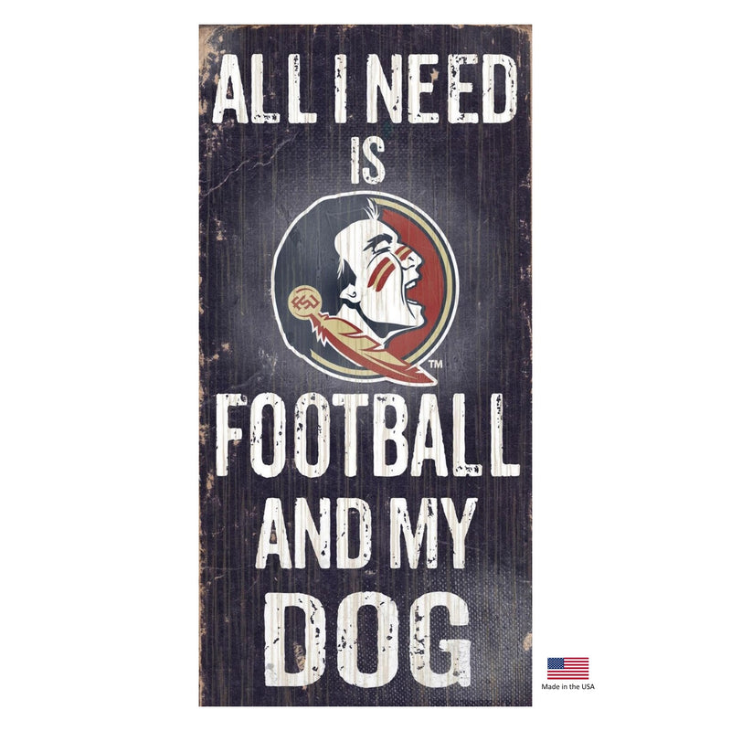 Florida State Seminoles Distressed Football And My Dog Sign - National Fur League