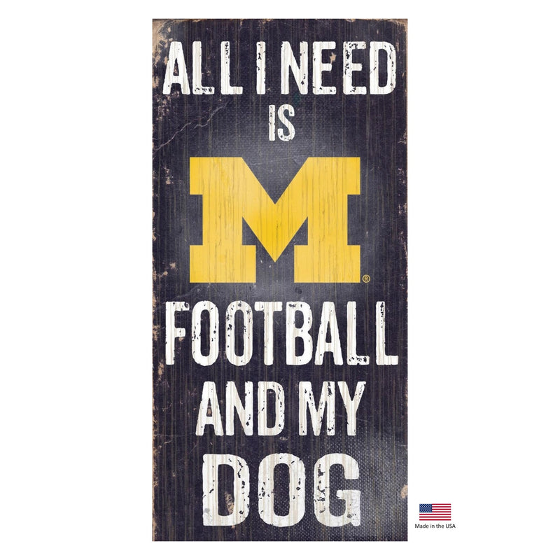 Michigan Wolverines Distressed Football And My Dog Sign - National Fur League