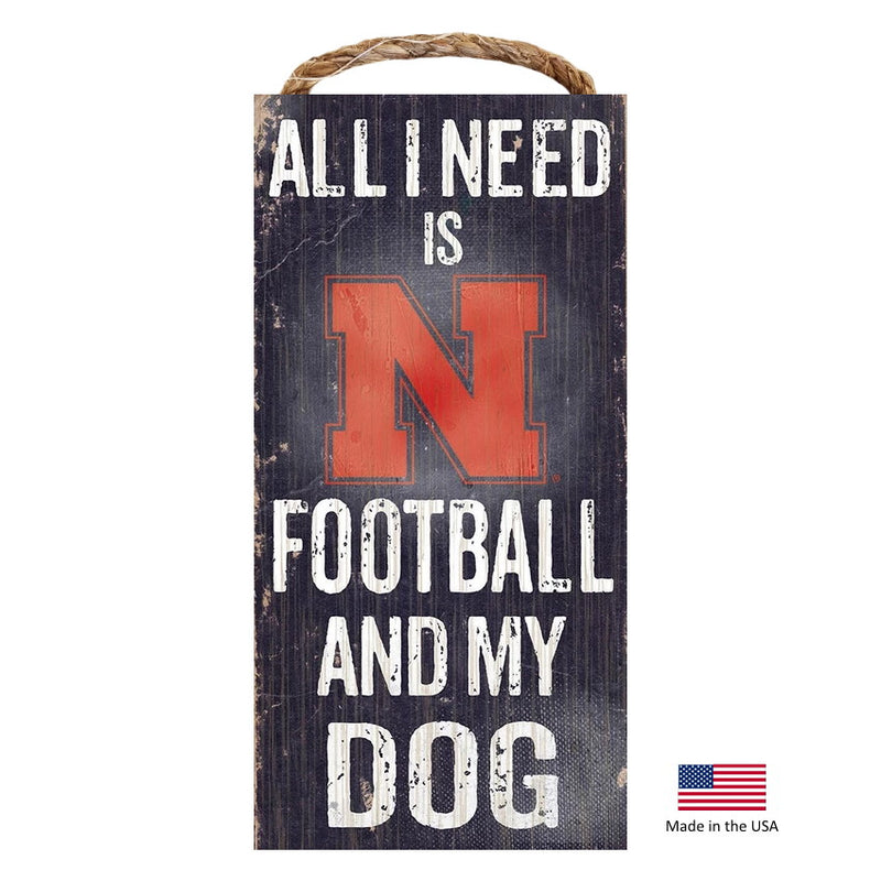 Nebraska Huskers Distressed Football And My Dog Sign - National Fur League