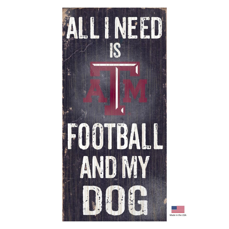 Texas A&m Aggies Distressed Football And My Dog Sign - National Fur League