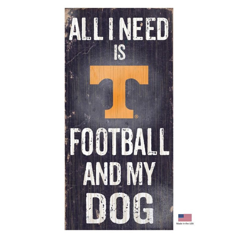 Tennessee Volunteers Distressed Football And My Dog Sign - National Fur League