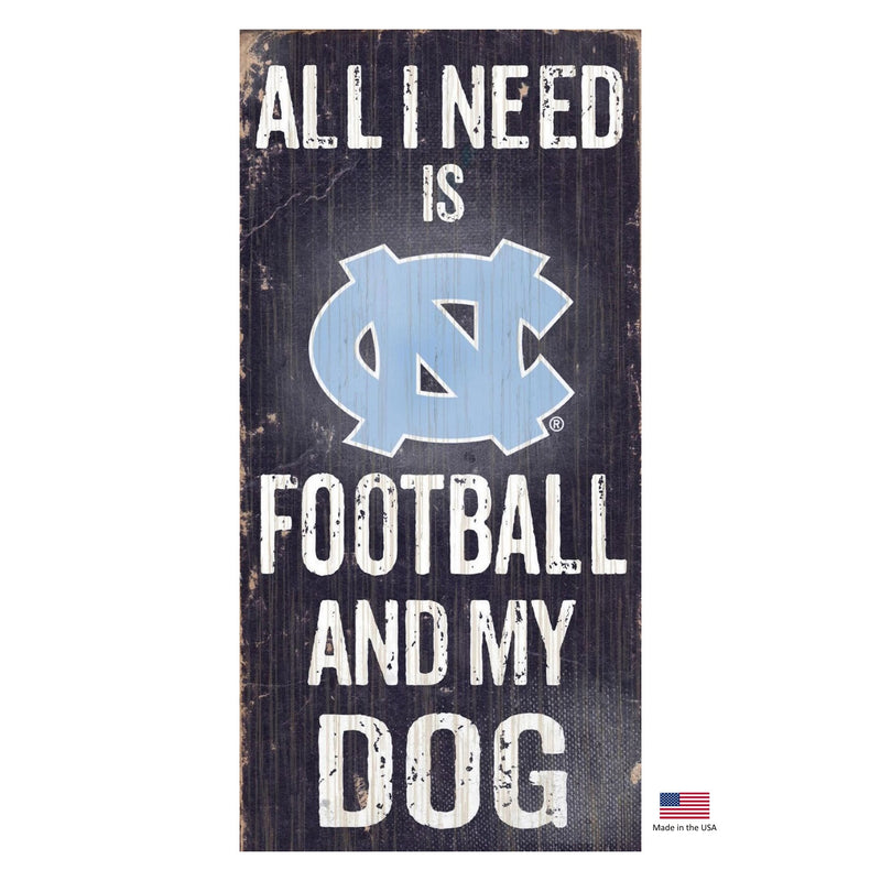 North Carolina Tarheels Distressed Football And My Dog Sign - National Fur League