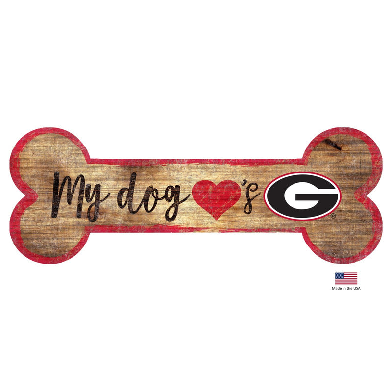 Georgia Bulldogs Distressed Dog Bone Wooden Sign - National Fur League