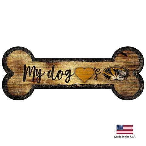 Missouri Tigers Distressed Dog Bone Wooden Sign - National Fur League