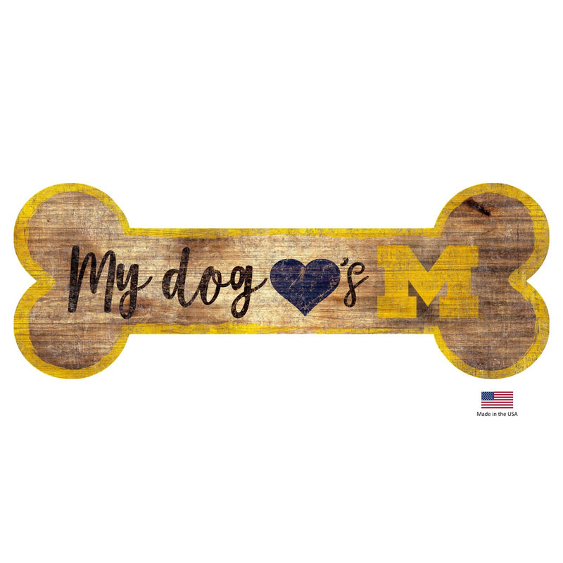 Michigan Wolverines Distressed Dog Bone Wooden Sign - National Fur League