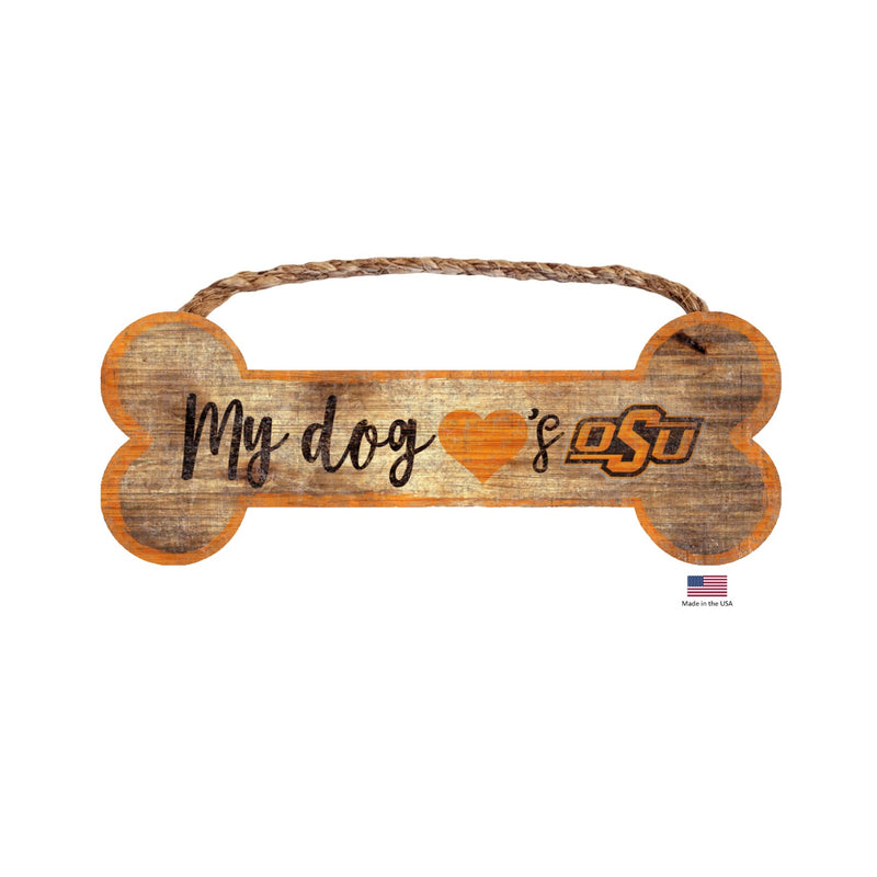 Oklahoma State Cowboys Distressed Dog Bone Wooden Sign - National Fur League