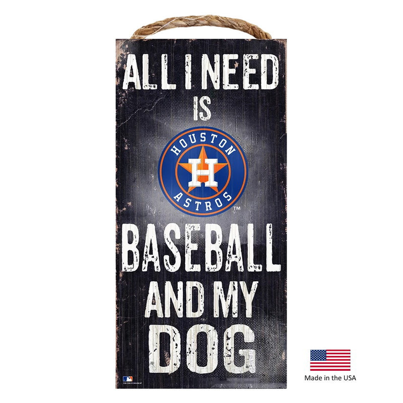 Houston Astros Distressed Baseball And My Dog Sign - National Fur League