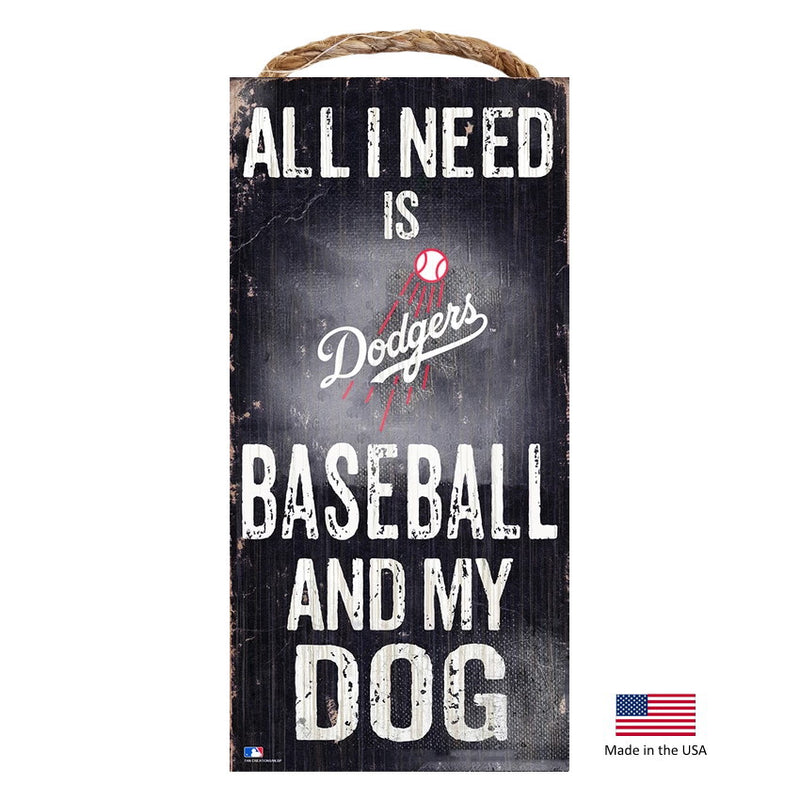 Los Angeles Dodgers Distressed Baseball And My Dog Sign - National Fur League