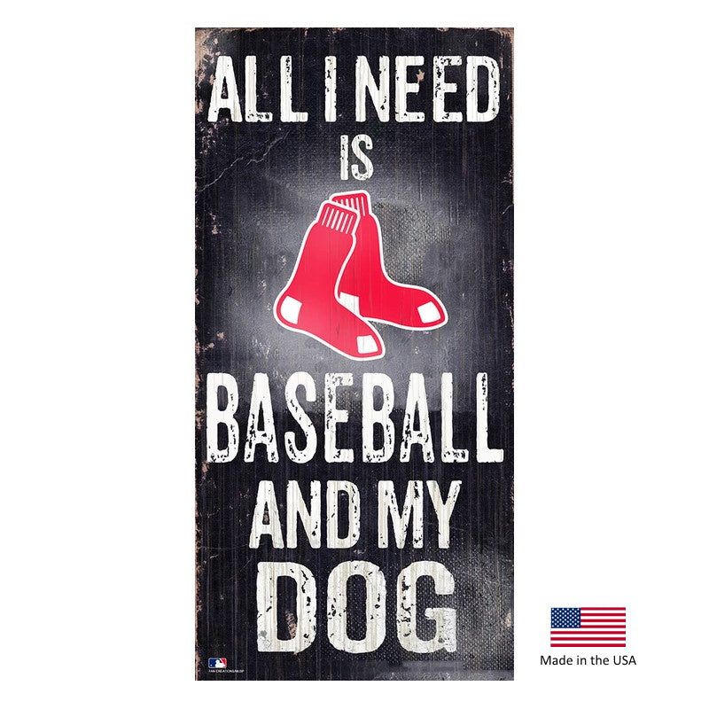 Boston Red Sox Distressed Baseball And My Dog Sign - National Fur League