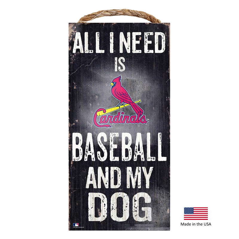 St. Louis Cardinals Distressed Baseball And My Dog Sign - National Fur League