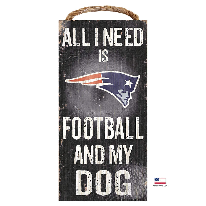 New England Patriots Distressed Football And My Dog Sign - National Fur League