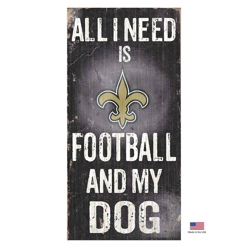 New Orleans Saints Distressed Football And My Dog Sign - National Fur League