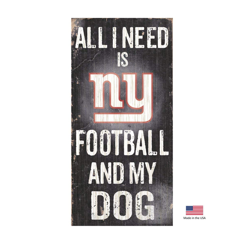 New York Giants Distressed Football And My Dog Sign - National Fur League