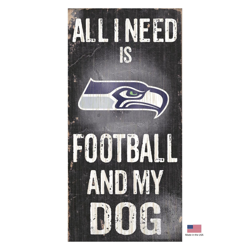 Seattle Seahawks Distressed Football And My Dog Sign - National Fur League