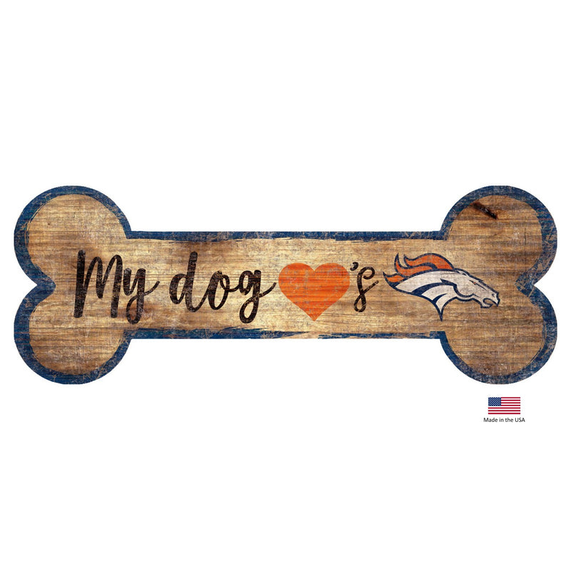 Denver Broncos Distressed Dog Bone Wooden Sign - National Fur League