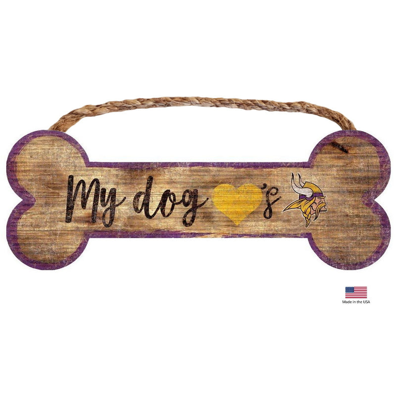 Minnesota Vikings Distressed Dog Bone Wooden Sign - National Fur League