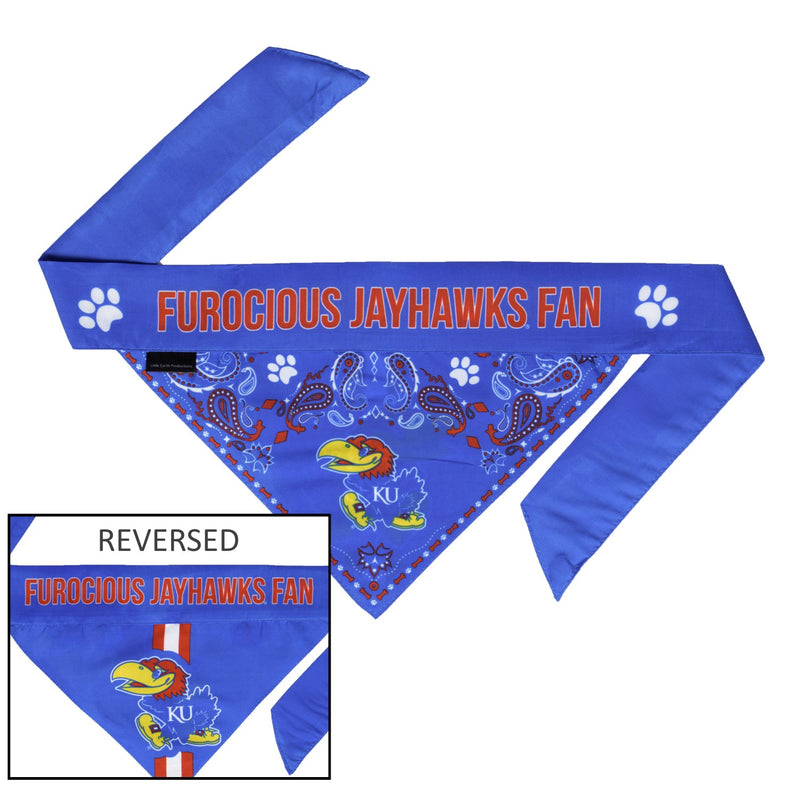Kansas Jayhawks Pet Reversible Paisley Bandana - National Fur League