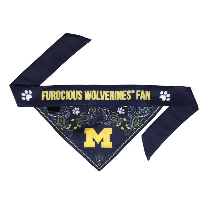 Michigan Wolverines Pet Reversible Paisley Bandana - National Fur League