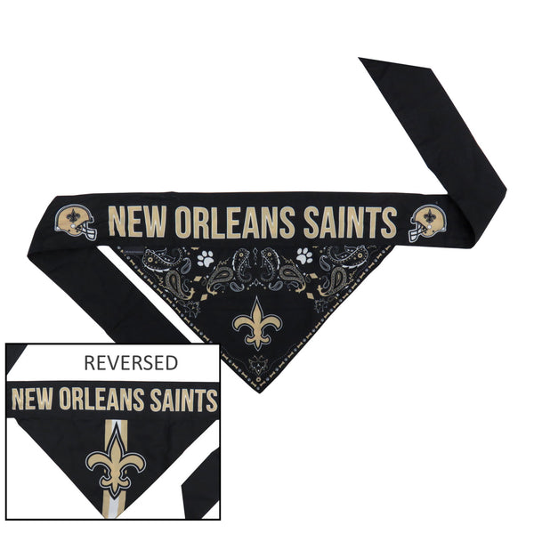 New Orleans Saints Pet Reversible Paisley Bandana - National Fur League