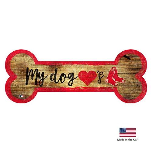 Boston Red Sox Distressed Dog Bone Wooden Sign - National Fur League