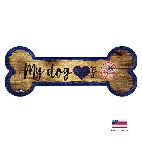 New York Yankees Distressed Dog Bone Wooden Sign - National Fur League