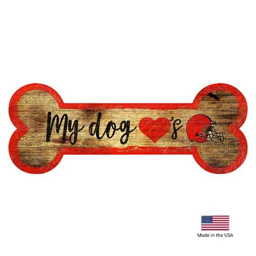 Cleveland Browns Distressed Dog Bone Wooden Sign - National Fur League