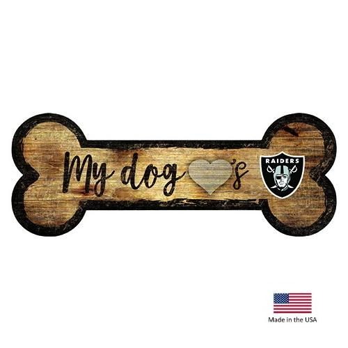 Oakland Raiders Distressed Dog Bone Wooden Sign - National Fur League
