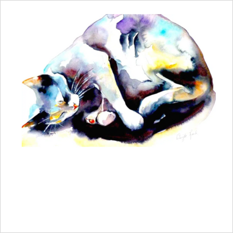 """Afternoon Cat Nap"" Cat Print by Janet Weight Reed"