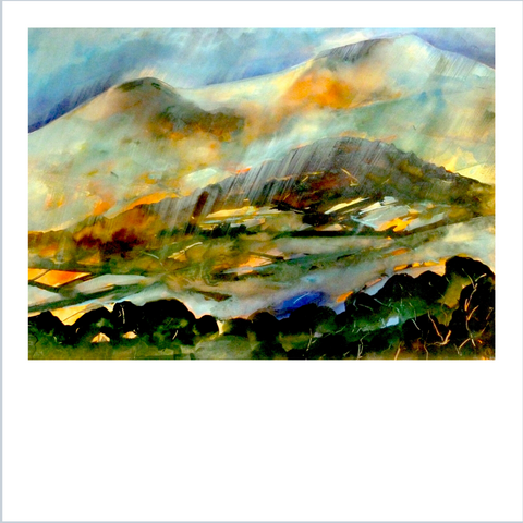 """Rain on the Brecon Beacons"" Landscape Print by Janet Weight Reed"