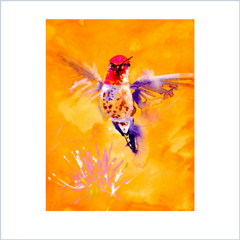 """Well Hello"" Hummingbird Print by Janet Weight Reed"