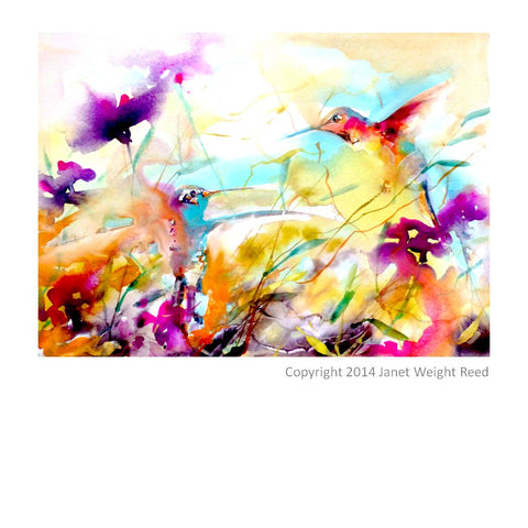 """Field Flirtation"" Hummingbird Print by Janet Weight Reed"