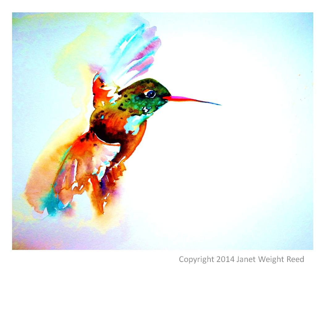 "Canvas Print - ""Twilight Flight"" Hummingbird Print By Janet Weight Reed"