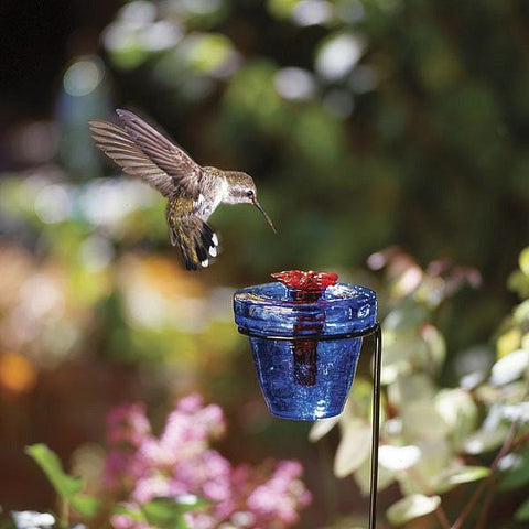 Flower Pot™ Hummingbird Feeder on a Stake