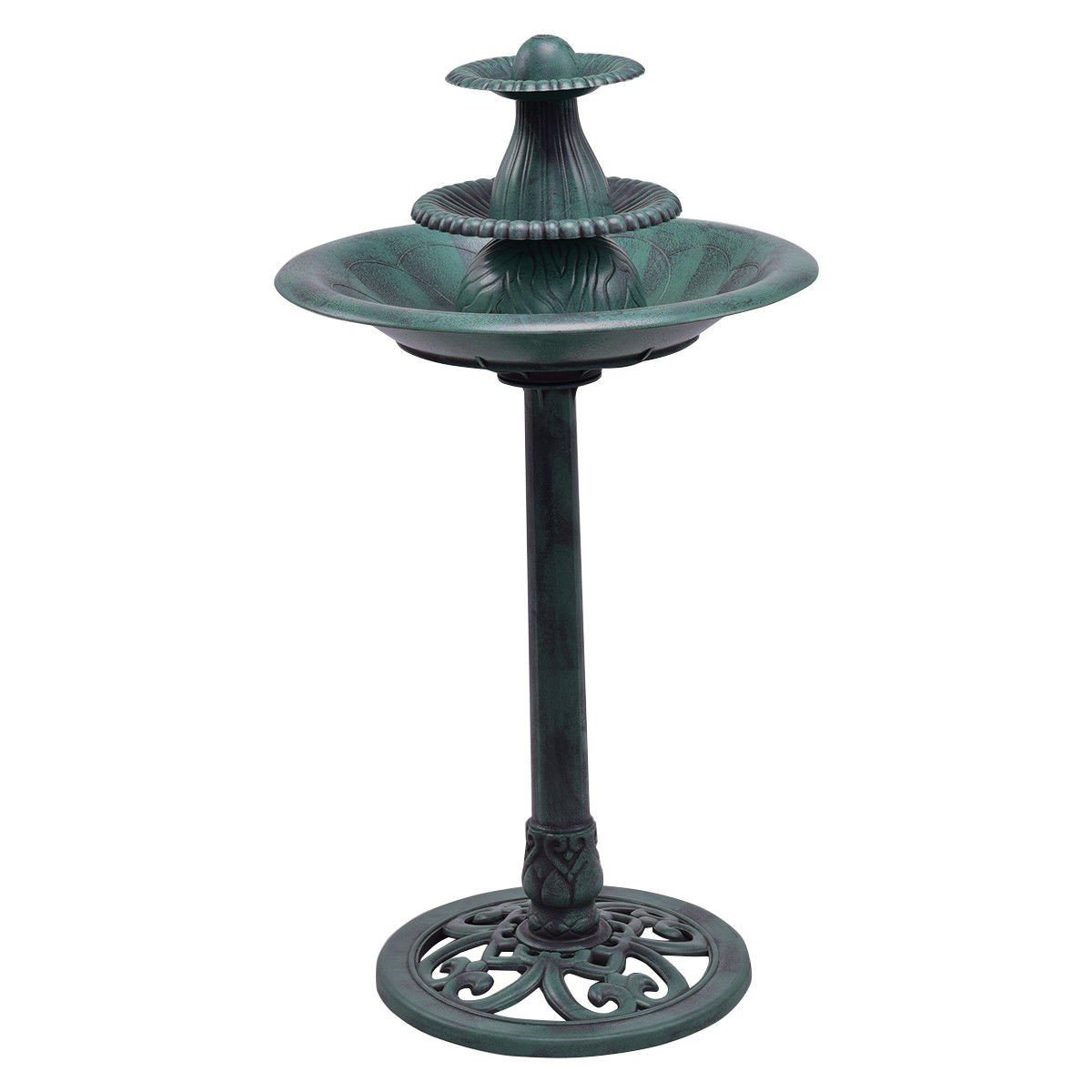 Fountain - 3-Tier Outdoor Bird Bath And Fountain With Pump