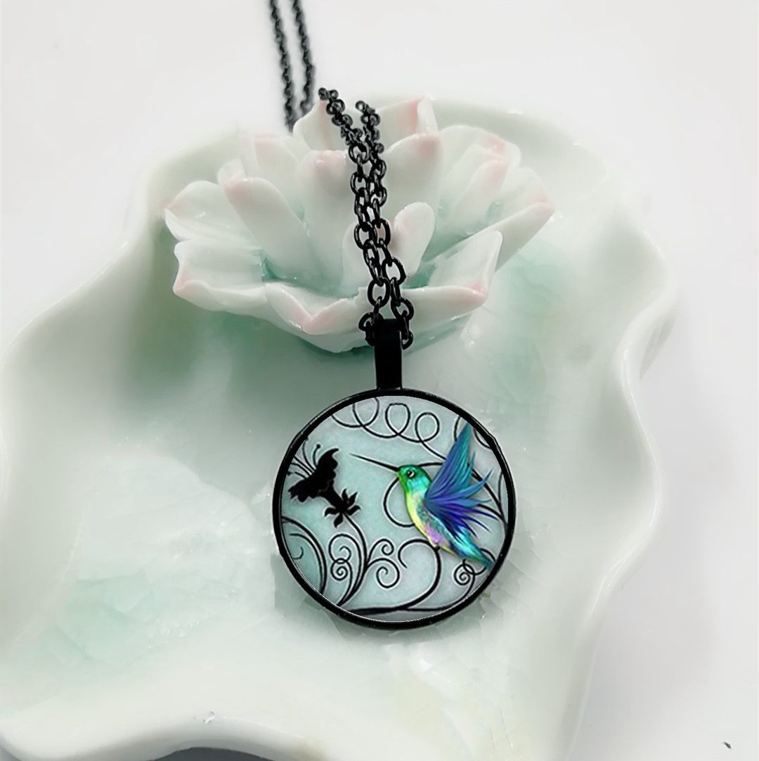 Gifts - Blue Glass Cabochon Hummingbird Pendant Necklace