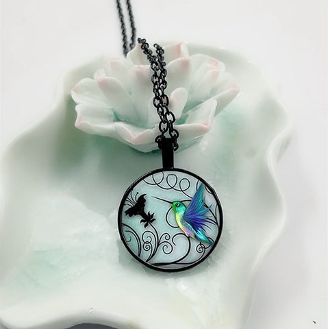Blue Glass Cabochon Hummingbird Pendant Necklace